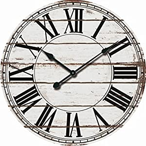 Amazoncom Oversized 24 Rustic White and Black Decorative Wall