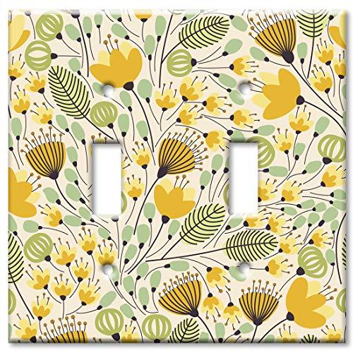 (Art Plates 2 Gang Toggle Wall Plate - Yellow Flower Toss)