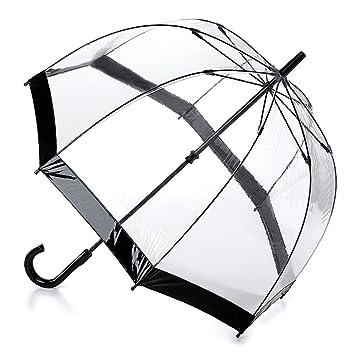 Fulton Birdcage-1 clara paraguas cúpula con borde negro