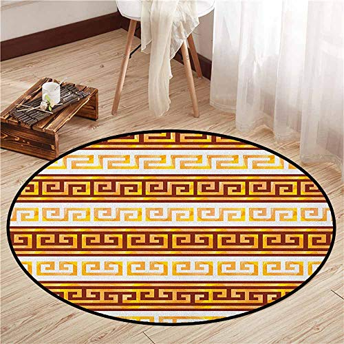 Area Round Rugs,Toga Party,Ancient Greek Cultural Tribal Geometric Meanders Figure Ornaments Design,Ideal Gift for Children,2'7
