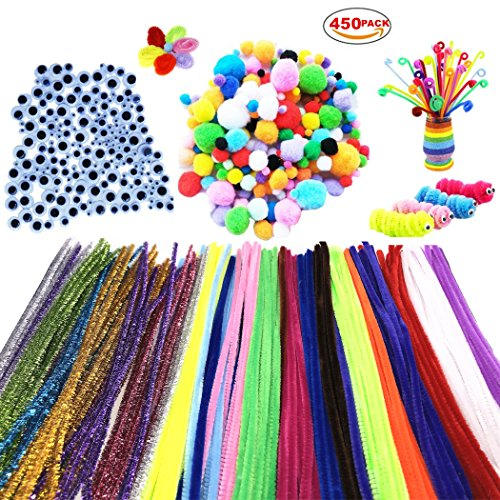 450Pcs Pom Poms Pipe Cleaners Chenille Stems DIY Art Craft Supplies Set , Including 200 Pcs 20 Colors Chenille Stems, 100 Pcs Pom Poms and 150 Pcs 3 Size Wiggle - Eye Black Glitter Diy