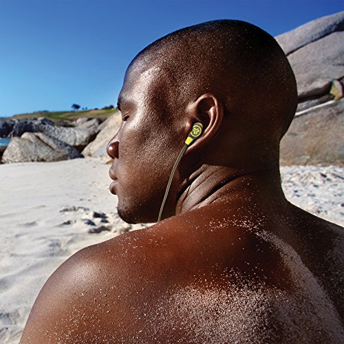 JLab Audio Diego in-Ear Earbud, Rugged Design, Tangle-Free Flat Cable, Universal Mic & Guaranteed for Life - Black/Gray