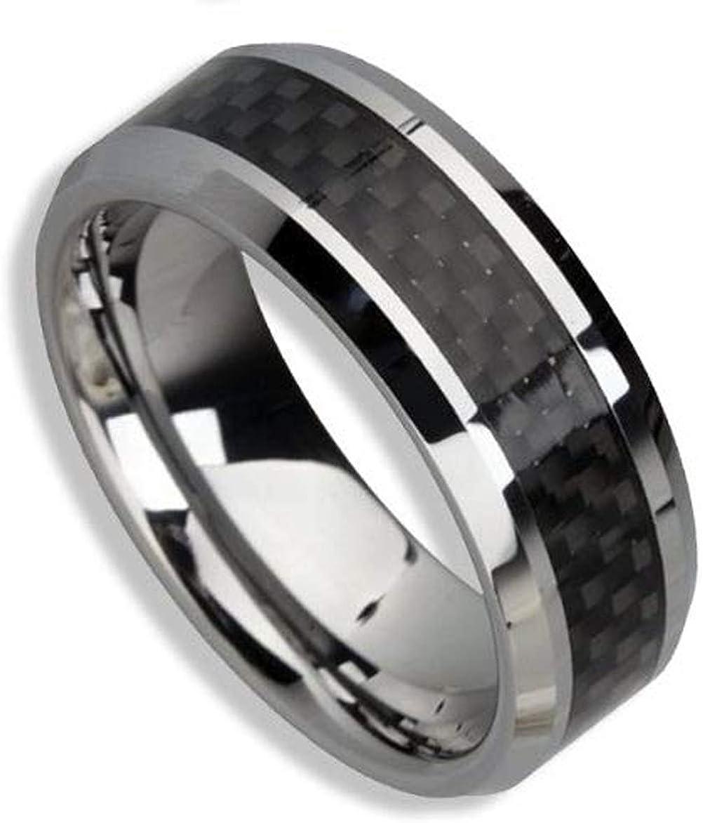 8mm TUNGSTEN CARBIDE Carbon Fiber Inlay ring size 12