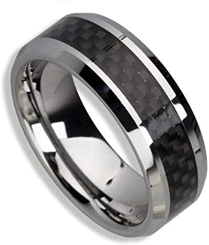 Size 8 to 12 6mm Carbon Fiber Inlay Mens Tungsten Comfort-fit Wedding Band Ring