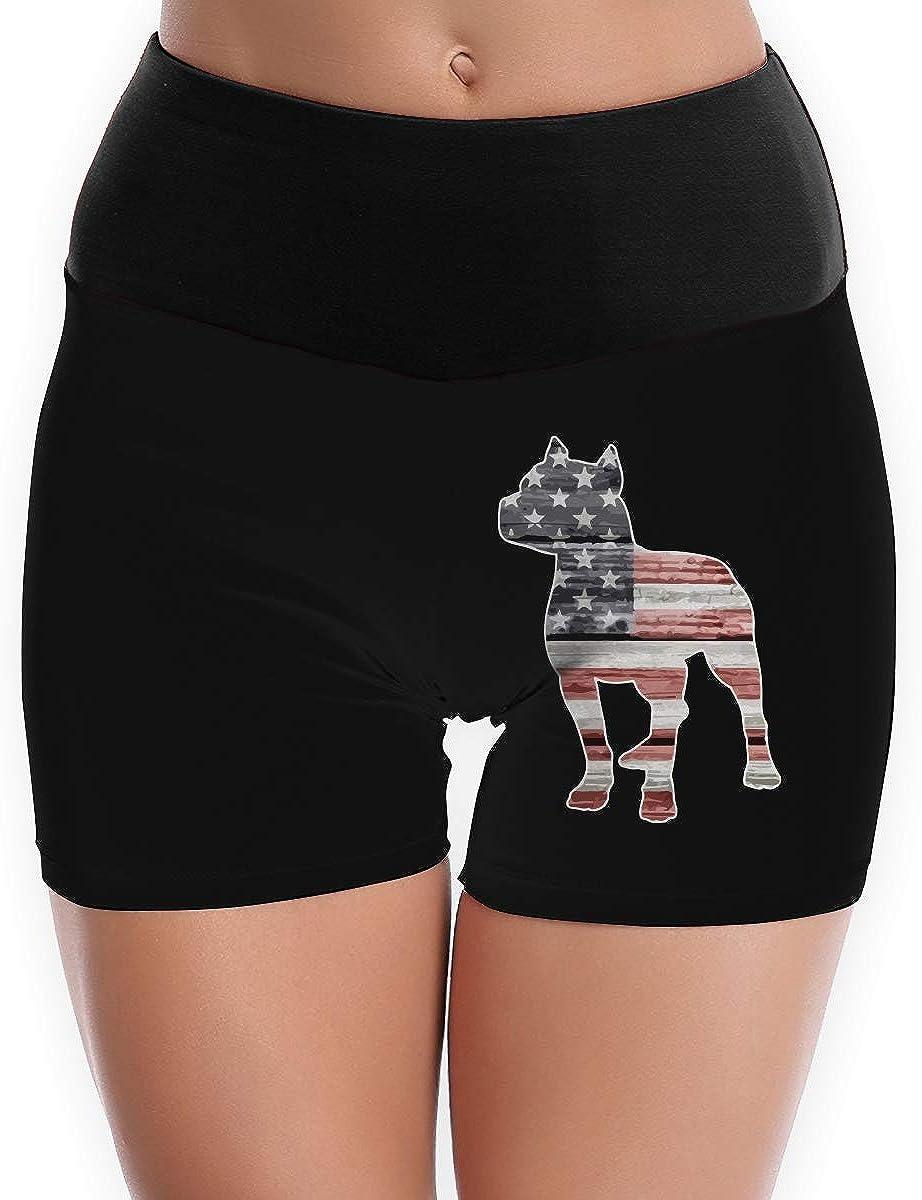 LDGT@DU Womens Yoga Shorts Patriotic Pitbull American Flag High-Waist Sports Shorts