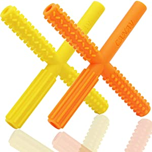 X Hollow Teether Tubes with 3 Different Textures - Teething Toys for Babies 0-6 Months 6-12 Months - BPA Free / Freezer & Refrigirator Safe - Baby Teether for Infants and Toddlers