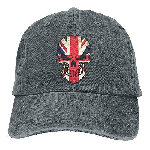 UK Flag Sugar Skull Adjustable Adult Cowboy Cotton Denim Hat Sunscreen Fishing Outdoors Retro Visor Cap