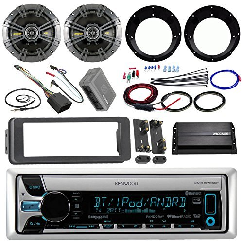 "Kenwood KMR-D765BT Stereo Receiver Bundle + 2 Kicker 6.5"" Speaker + Motorcycle Speaker Adapters + 200 Watt Amplifier W/Amp Kit + Dash Trim Kit + Handle Bar Conroller for 98-13 Harley + Enrock Antenna"