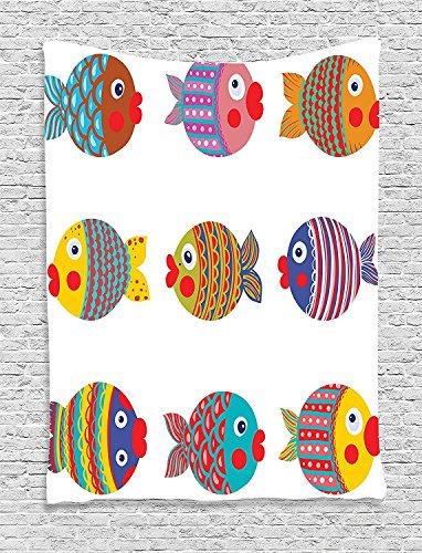 Multi Fish Hanging - asddcdfdd Funny Decor Tapestry, Puffers Toadfish Colorful Childish Fish Family With Folk Art Patterns Children Nursery Decor, Bedroom Living Room Dorm Decor, 40 W x 60 L Inches, Multi