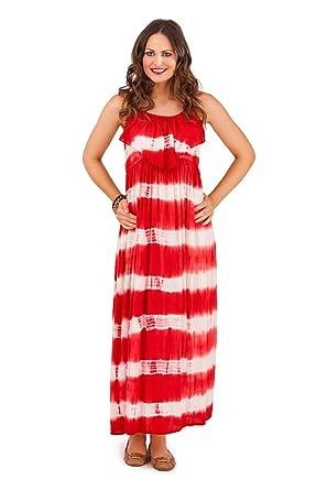 c03f0968b40 Lora Dora Womens Strappy Maxi Full Length Summer Dress Ladies Tie Dye  Striped Size UK 8-16  Amazon.co.uk  Clothing