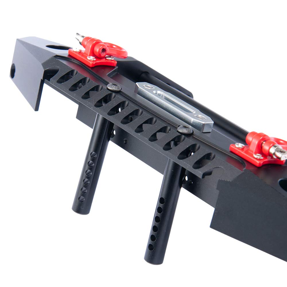 RCLions Aluminum Front Bumper with LED Headlights Towing Shackles for Traxxas TRX4 1//10 RC Model Crawler Car