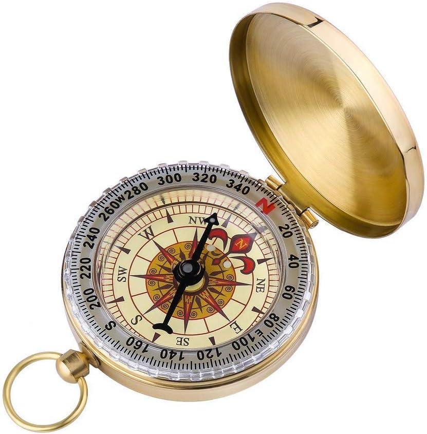 HYLH Brújula Navegación, Llavero Niños Dibujo Mapa Bloquear Libro de niños Reloj Antiguo Barco Matemáticas Herramienta Caso Expedición Regalos de Oro