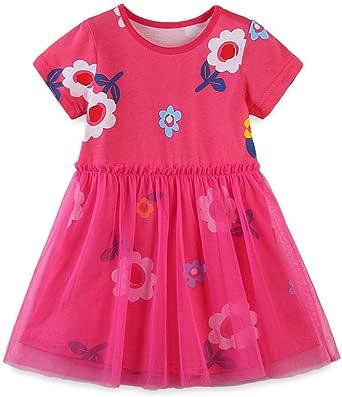 Bcaur Girls' Tulle Dresses Short Sleeve Princess Dress Summer Children Clothes for 2-7Y