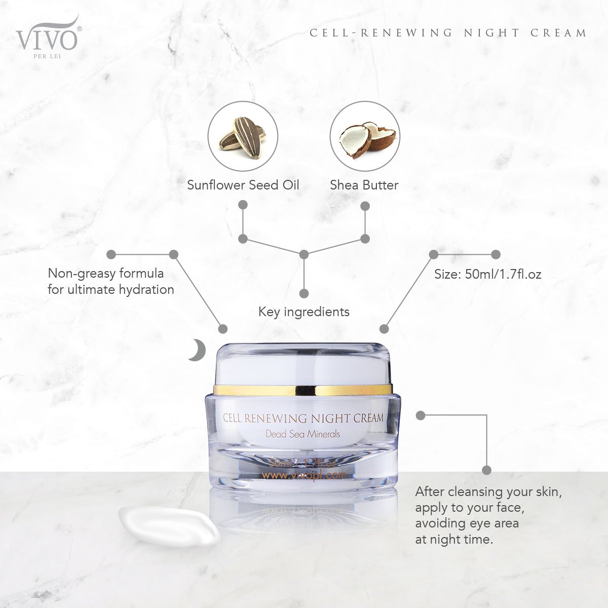 Vivo Per Lei Cell Renewal Night Cream, Nourishing Your Skin with Oil-Free Moisture, 1.7 Fl. Oz, Pack of 3