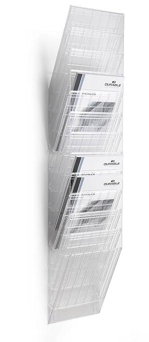 Durable Flexiboxx - Revistero para pared (tamaño A4 vertical), 12 compartimentos, color transparente: Amazon.es: Oficina y papelería