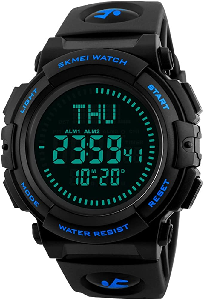 Men's Military Sports Digital Watch with Survival Compass 50M Waterproof Countdown 3 Alarm Stopwatch