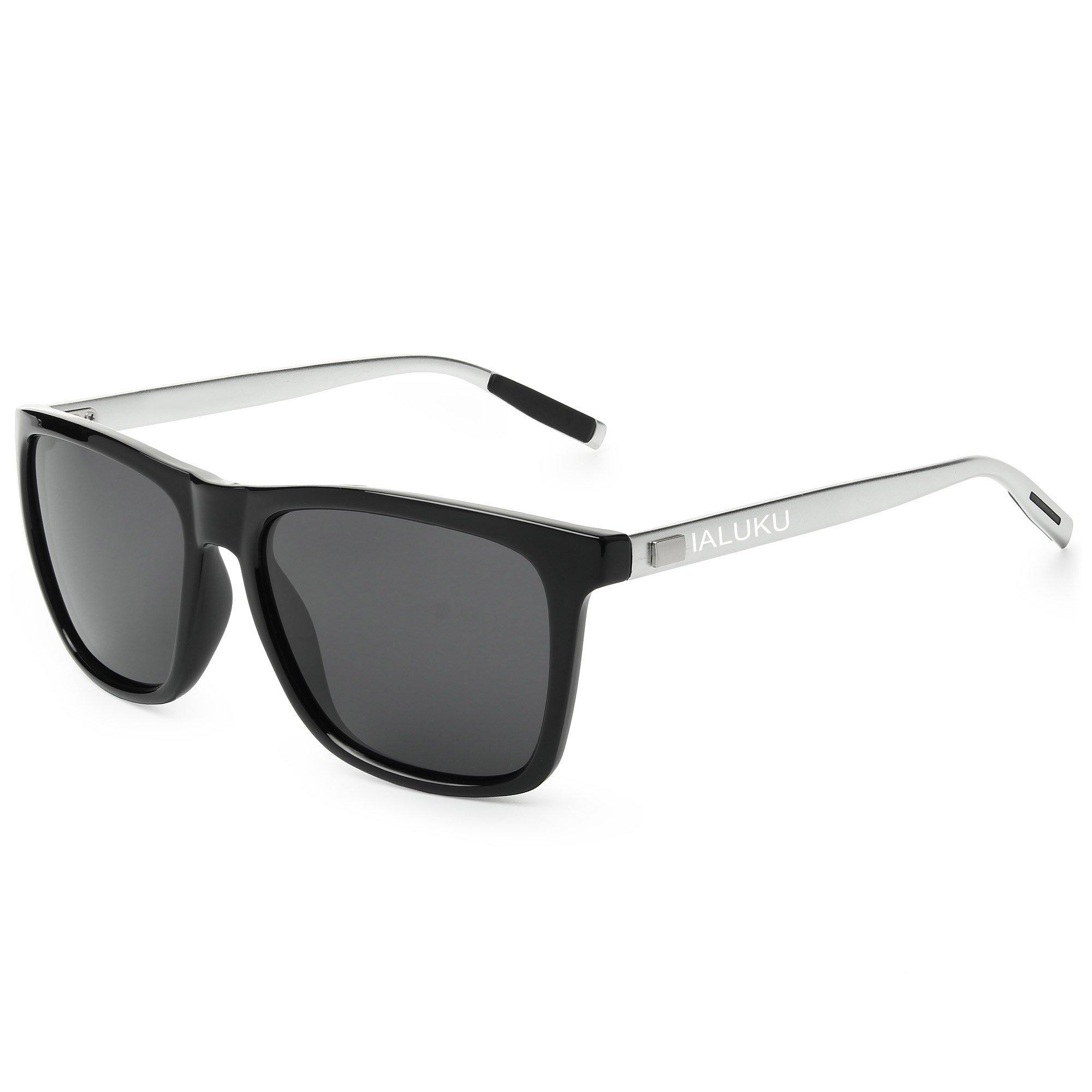 IALUKU Wayfarer Sunglasses Polarized Women Men Mirrored UV400 Full Frame (Black / Gray, 60)