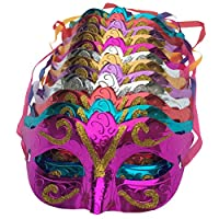 Arlai Pack de 12, oro brillante plateado máscara de la boda accesorios masquerade máscara de mardi gras