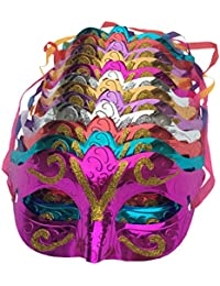 Pack of 12, Gold shining plated party mask wedding props masquerade mardi gras mask