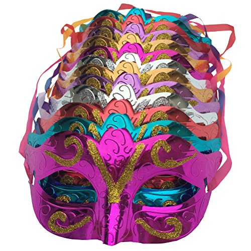 Arlai Pack of 12, Gold shining plated party mask wedding props masquerade mardi gras mask (Plastic Masquerade Mask)