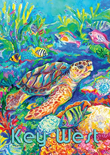 Toland Home Garden 1012059 Loggerhead Turtle Key West House Flag, House-Large-28x40-Inch (West Fabrics Tropical Key)