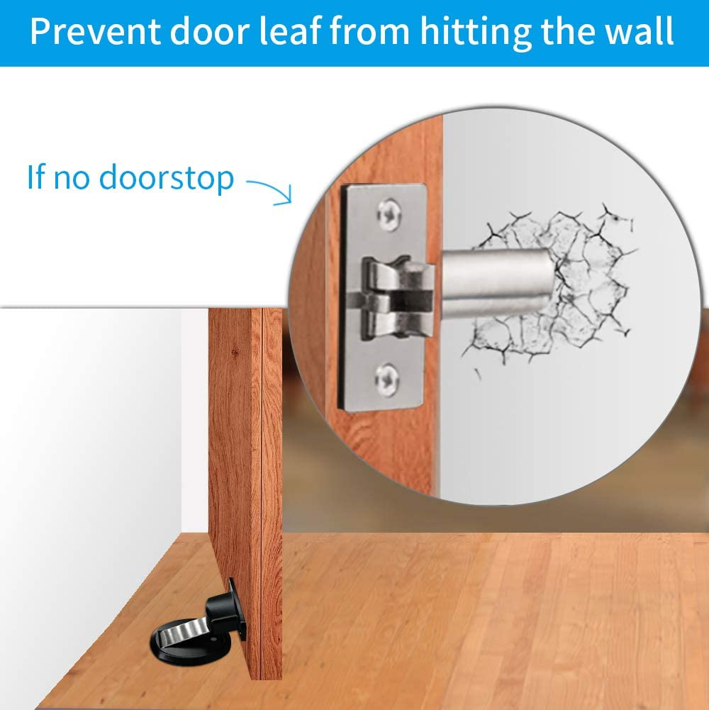 Magnetic Heavy Duty Door Holder with 3M Self Adhesive and Conceal Screw Mount 1PCS Black Robustty Door Stopper Magnetic Door Stop