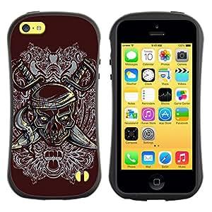 LASTONE PHONE CASE / Suave Silicona Caso Carcasa de Caucho Funda para Apple Iphone 5C / Pirate Skull & Swords Crest