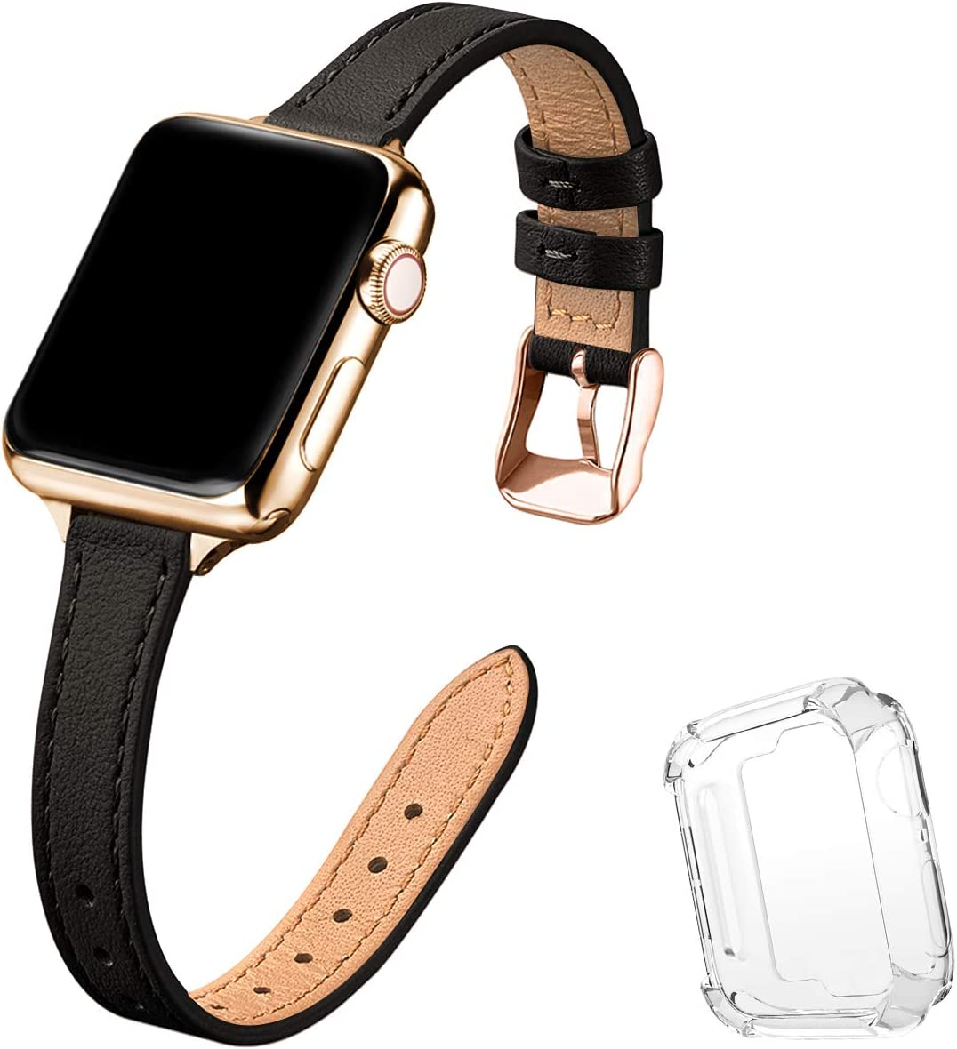 STIROLL Slim Leather Bands Compatible with Apple Watch Band 38mm 40mm 42mm 44mm, Top Grain Leather Watch Thin Wristband for iWatch SE Series 6/5/4/3/2/1 (Black with Gold, 38mm/40mm)