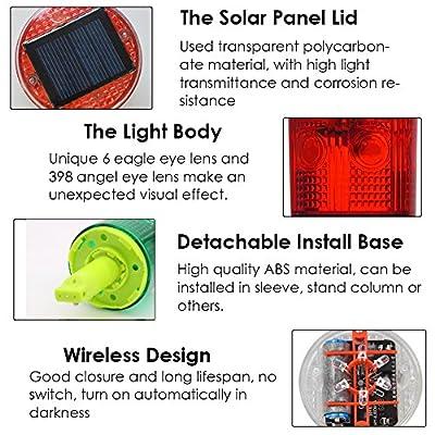 Aolyty Solar Strobe Warning Light 360 Degree Single Column Super Bright Waterproof IP48 for Construction Traffic Dock Marine Wireless Light Control Flashing (Red): Automotive