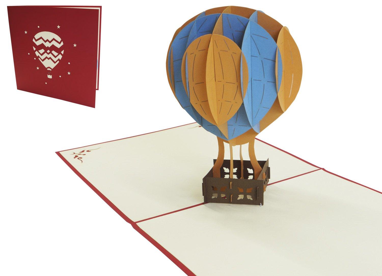 LIN - Pop Up 3D Biglietto di auguri, Mongolfiera, (#150) LIN ArtDesign