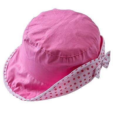 e9dd93ba7abe Bigood Chapeau Souple bébé Fille Coton Bonnet Soleil Nœud de Papillon  Respirant Eté Tour de Tête