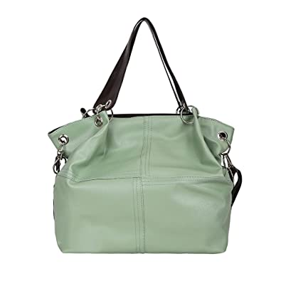 a87102f32551 Amazon.com  Leather Handbags Big Women Bag Casual Female Bags Tote Splice Leather  Shoulder Bags With Corssbody Bag Color Green 25CM  Shoes