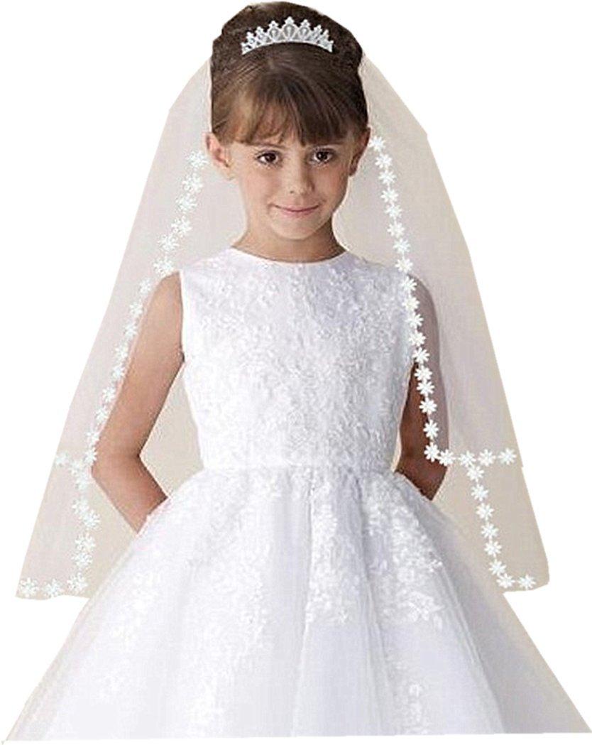 Shop Ginger Wedding Girls 2T White Holy First Communion Veil Tiara Lace Edge (With Tiara)