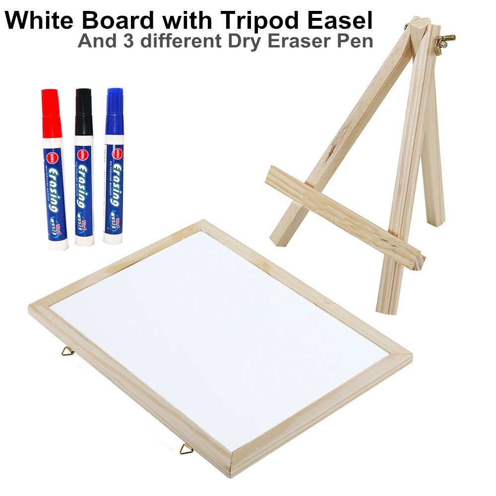 E-Conoro Dry Easel White Board, 11 x 8 inch Magnetic Dry Erase Board, Flip Chart Presentation Whiteboard With Tripod Easel Legs