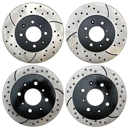 Prime Choice Auto Parts PR4297-41151PR Set of 4 Performance Drilled and Slotted Brake Rotors