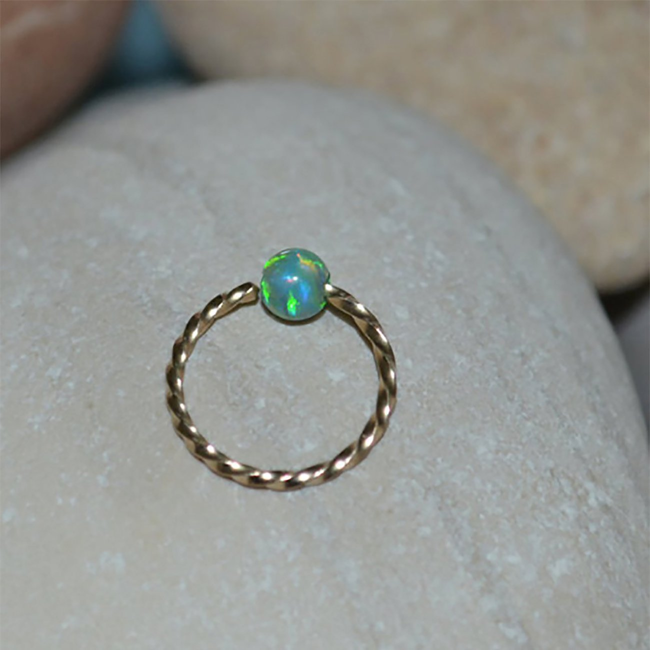 3mm Opal NOSE RING // Gold Nose Ring Stud - 20 gauge Cartilage Earring - Forward Helix Earring - Rook Piercing - Tragus Earring