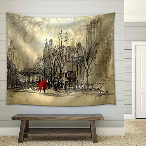 Couple in Red Walking on Street of City Freehand Sketch Fabric Wall