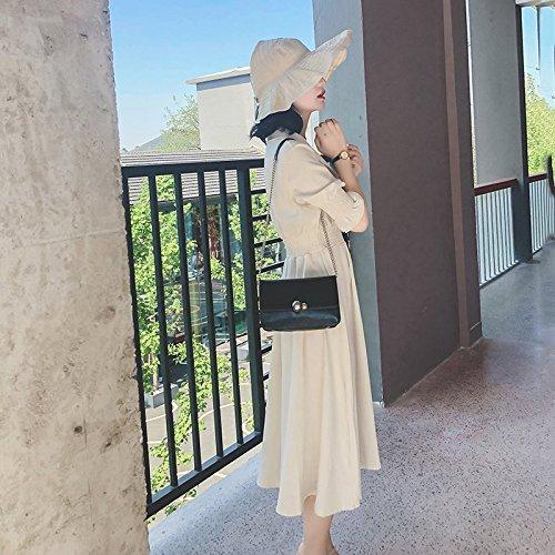 MiGMV?V Robes Robe de Mousseline Taille Haute, Une Jupe de Longueur Moyenne, Cool Jupe,S,Beige