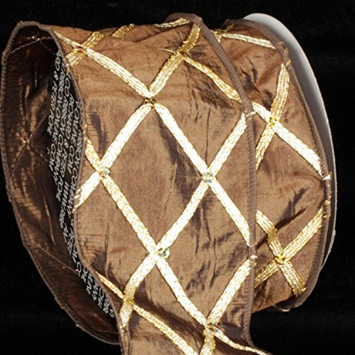 Brown Diamond Print Taffeta Wired Craft Ribbon 3