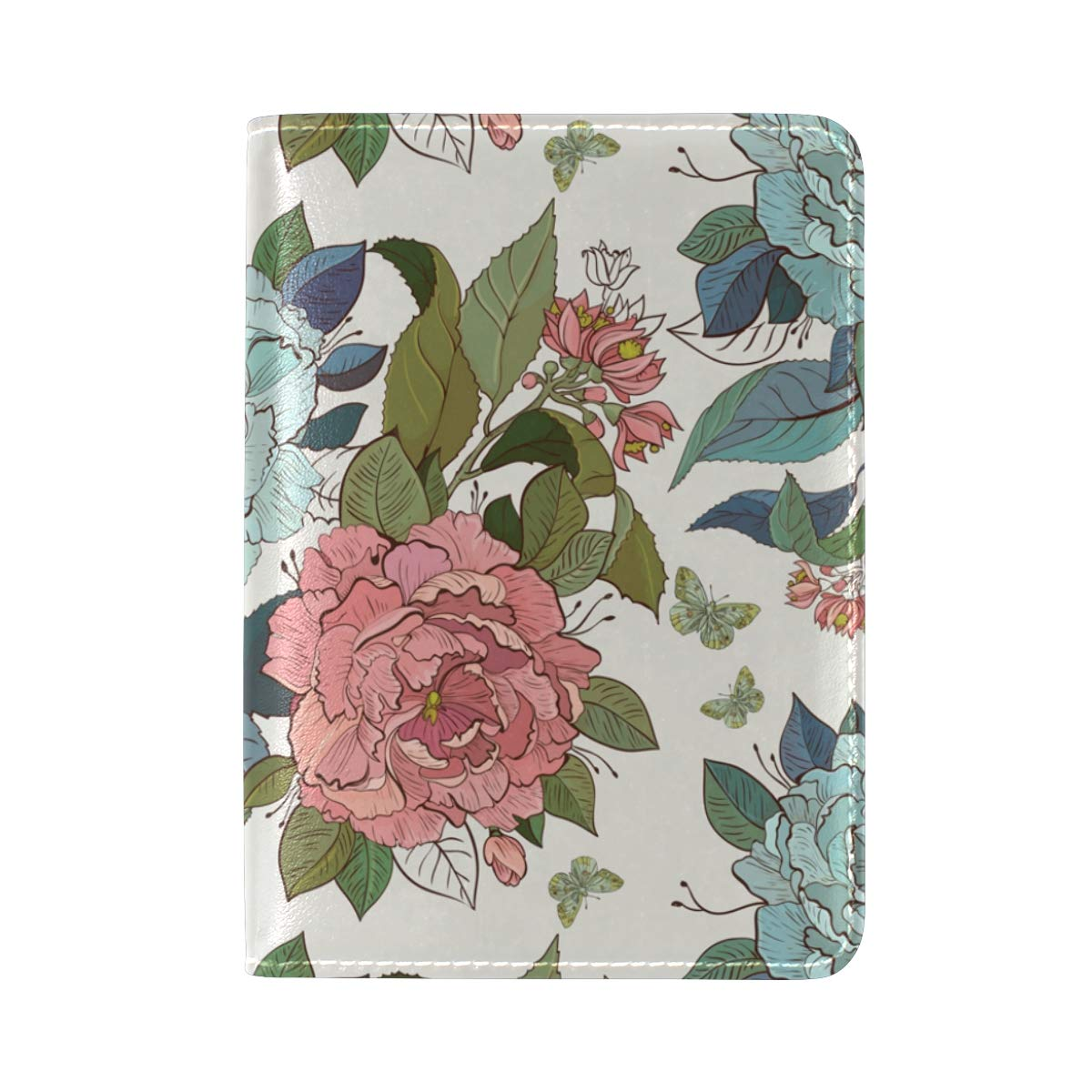 Floral Seamless Roses Butterfly Pattern One Pocket Leather Passport Holder Cover Case Protector for Men Women Travel