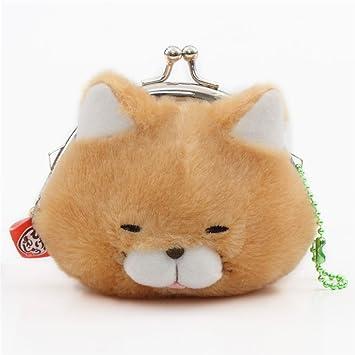 Monedero de peluche gracioso gato suave marrón claro Manjyu de Japón