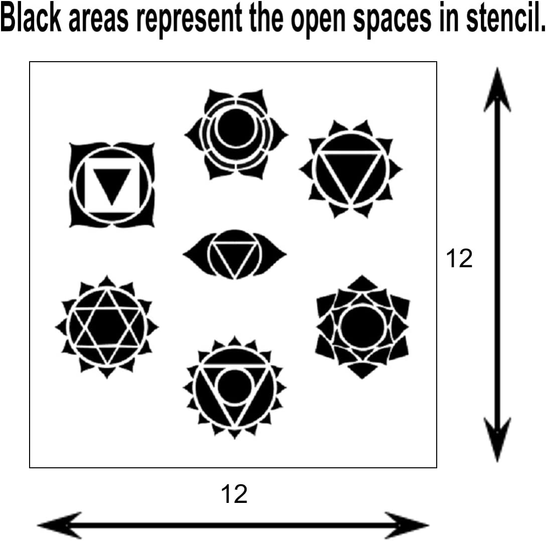 Heart Solar Throat 7 in 1 Chakras Symbols Stencil Template Meditation//Body//Energy//Crown,Third Eye Sacral and Root. 12 X 12 inch