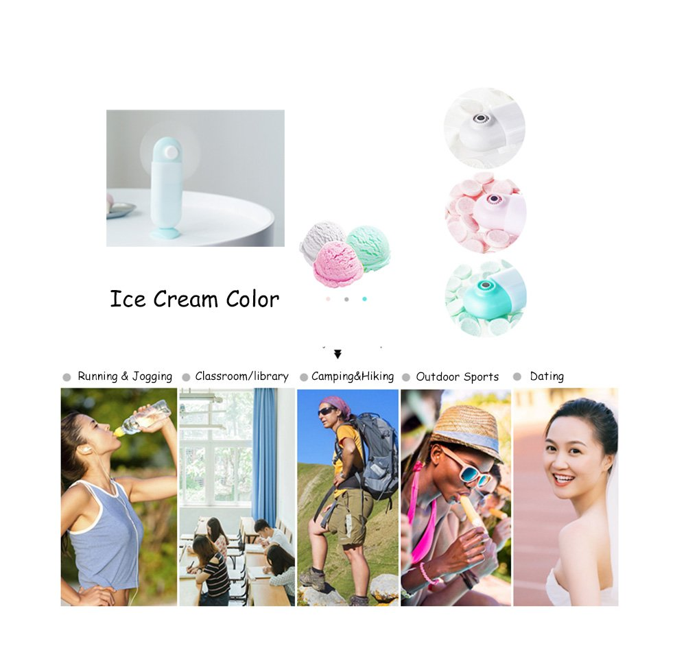 GREENIC Handheld Mini Fan, Portable Personal USB Powered Electric Fan for Outdoor Travel Office, Pink