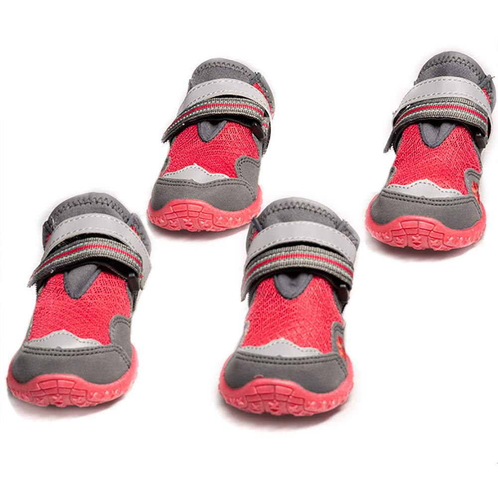 all4canid Breathable Dog Boots, Dog Hiking Shoes with Durable Anti-Slip Sole and Soft Mesh Top, 4PCS (Red, 2) by all4canid