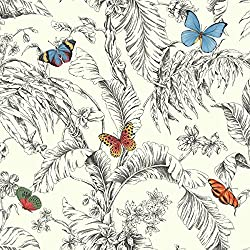 York Wallcoverings AF2025 Ashford Toiles Papillon Removable Wallpaper, Red/Blue/Green/Yellow/Black