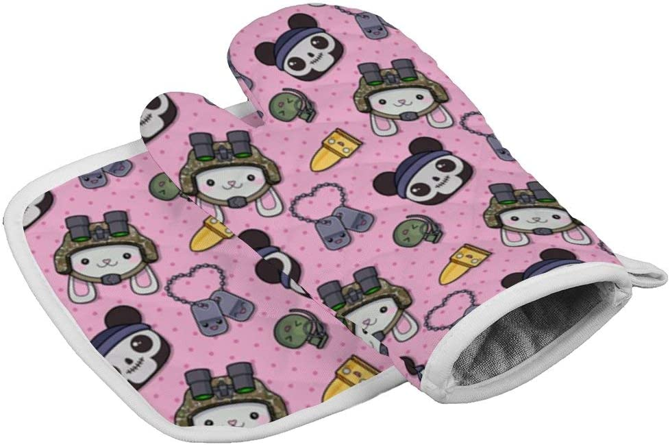 July-Seven Kawaii Panda1 Oven Mitts,Professional Heat Resistant Microwave BBQ Oven Insulation Thickening Cotton Gloves Baking Pot Mitts with Soft Inner Lining