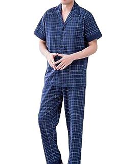 0ccd02e3fc Pajamas Men s Long Summer Comfortable Pajama Plaid Classic Set Cotton Short  Sleeve Fashion Brands Home Service