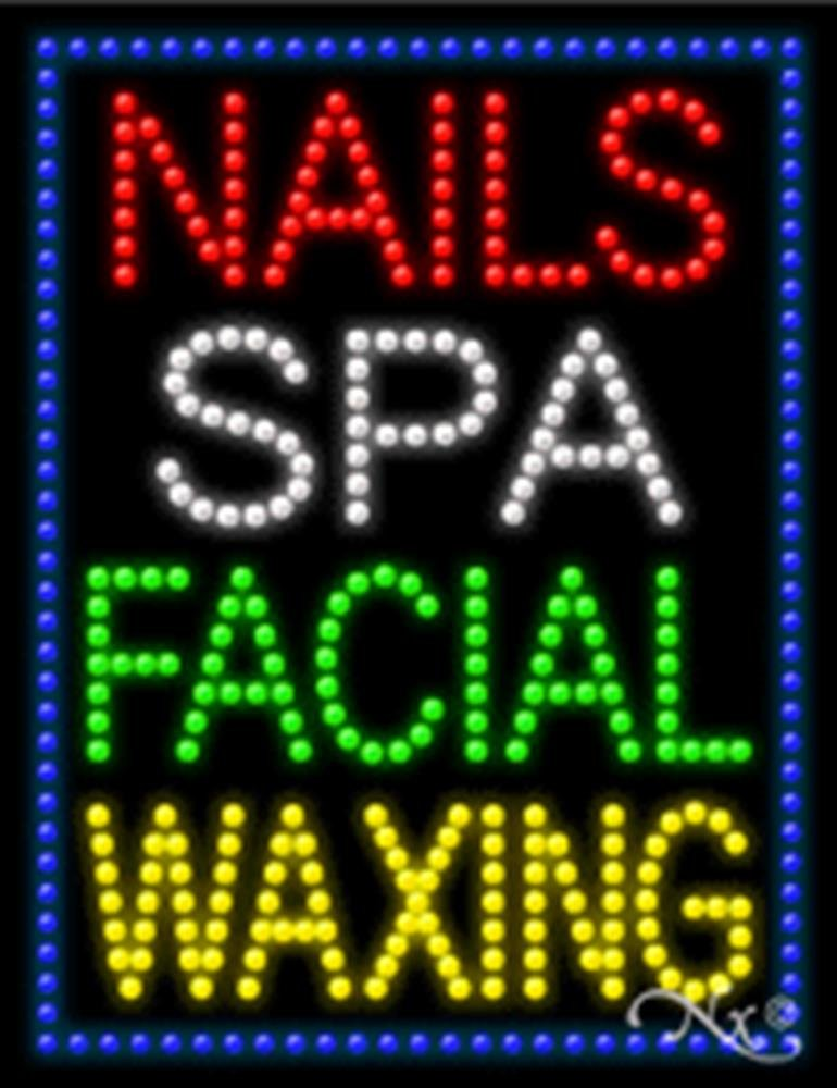 26x20x1 inches Nails Spa Facial Waxing Animated Flashing LED Window Sign