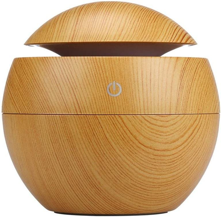 Cool Mist Aroma Diffuser with USB Plug, Wood Grain Painted Mini Size 130Ml Air Humidifier, Portable Desktop for Office, Home, Study, SPA(Light Color)