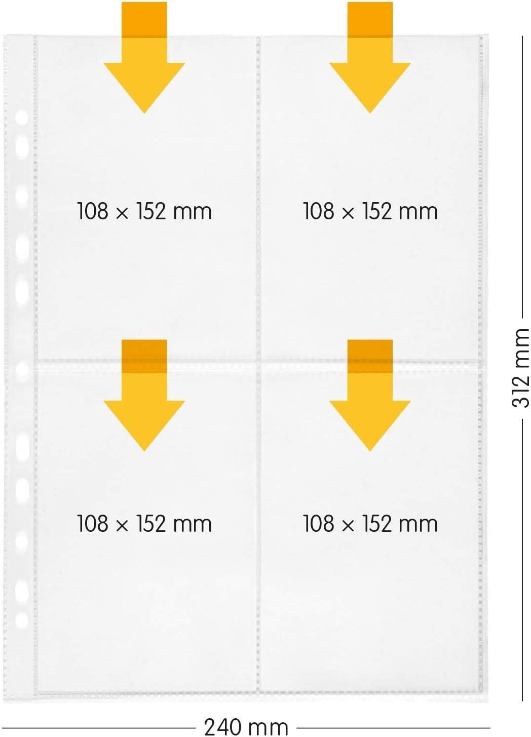 perfect line 100 fundas para guardar transparentes A4, divididas en 4 partes A6, lámina transparente con inserción por el alto